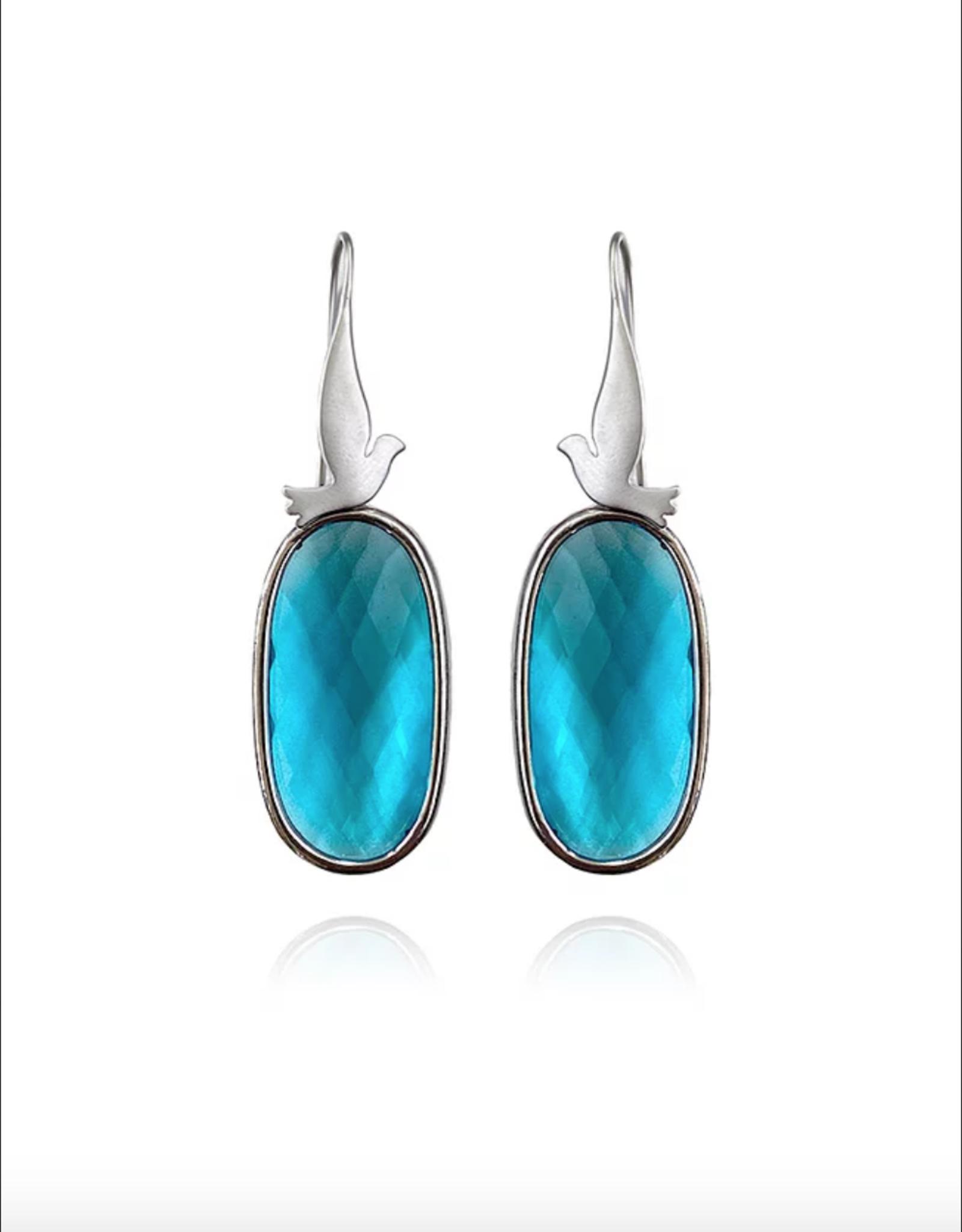 Lakoo Designs Silver Bird Big Blue Crystal Earrings