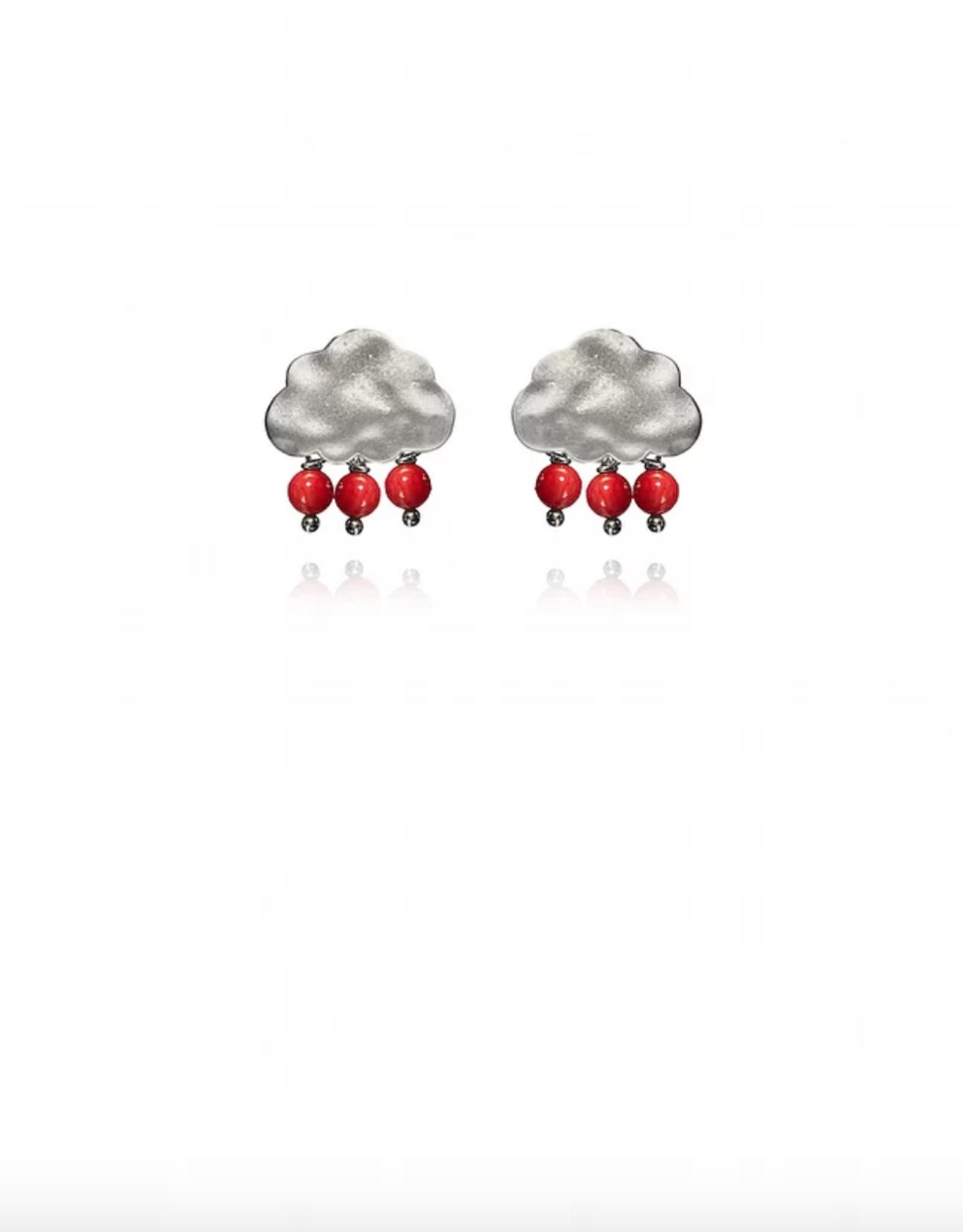 Lakoo Designs Silver Cloud 3 Red Drops
