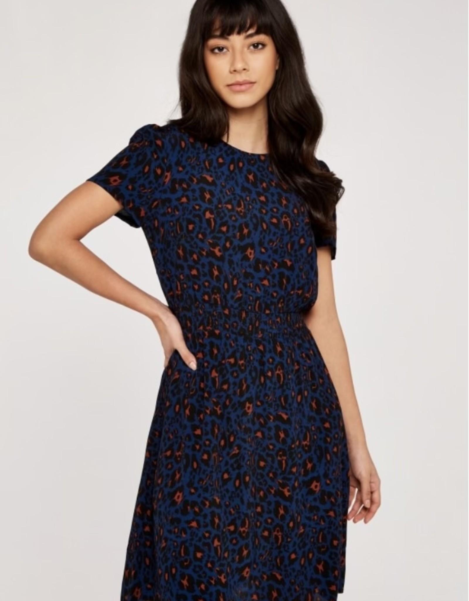 Apricot Shirred Waist Navy Dress