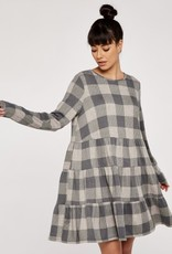 Apricot Check Print Grey Dress