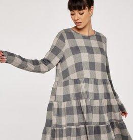 Apricot Check Print Grey Dress