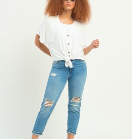 Dex Button Front White Top