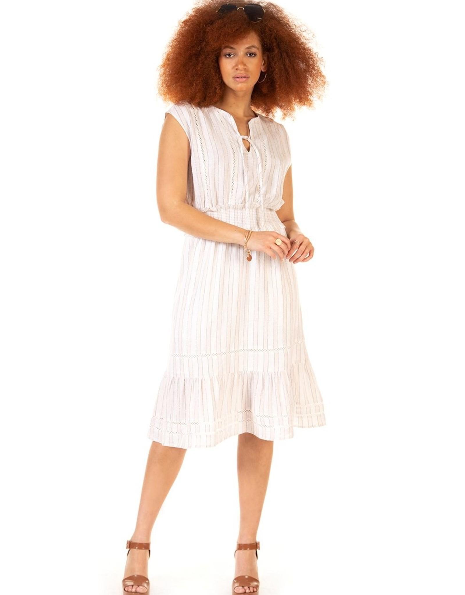 Black Tape Beige/Cream Lurex Midi Dress
