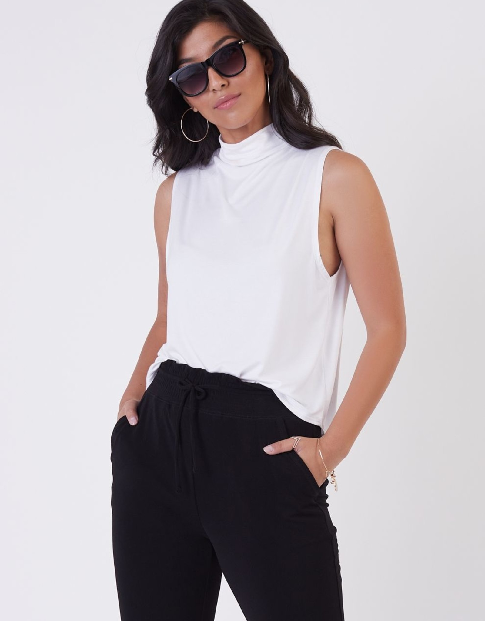 Black Tape Soft Mock Neck Top