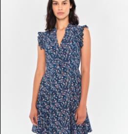 Apricot Navy Micro Ditsy Ruffle Shoulder Dress