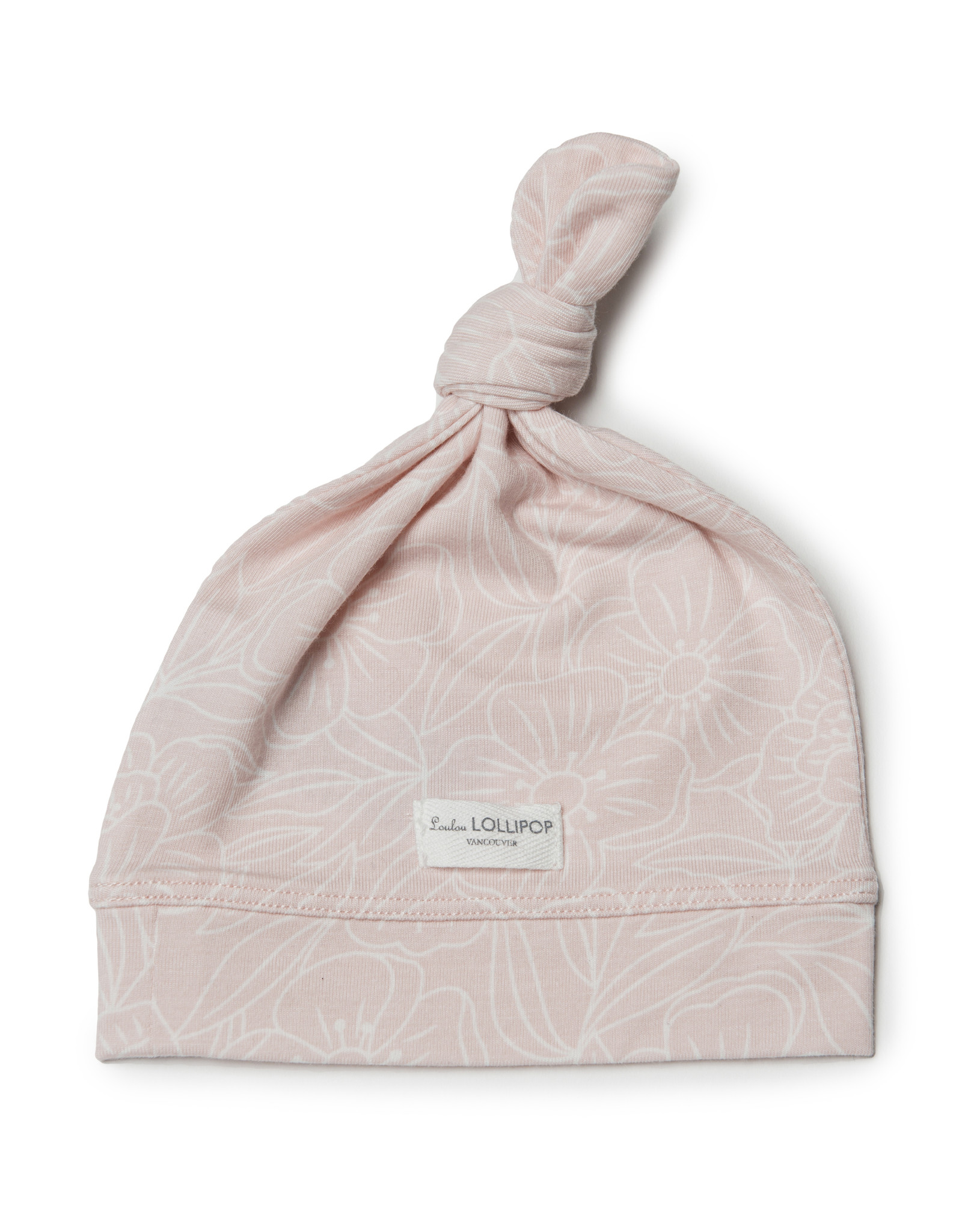 Loulou Lollipop Top Knot Beanie Sepia Rose 0 -6m