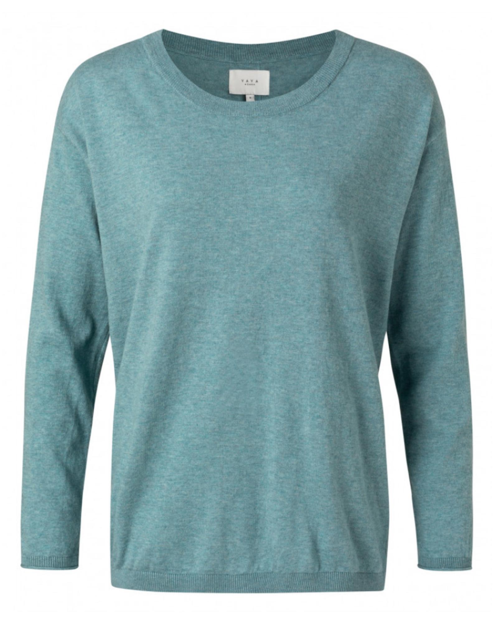 Yaya Sweater w/ Back Buttons Rainy Sky