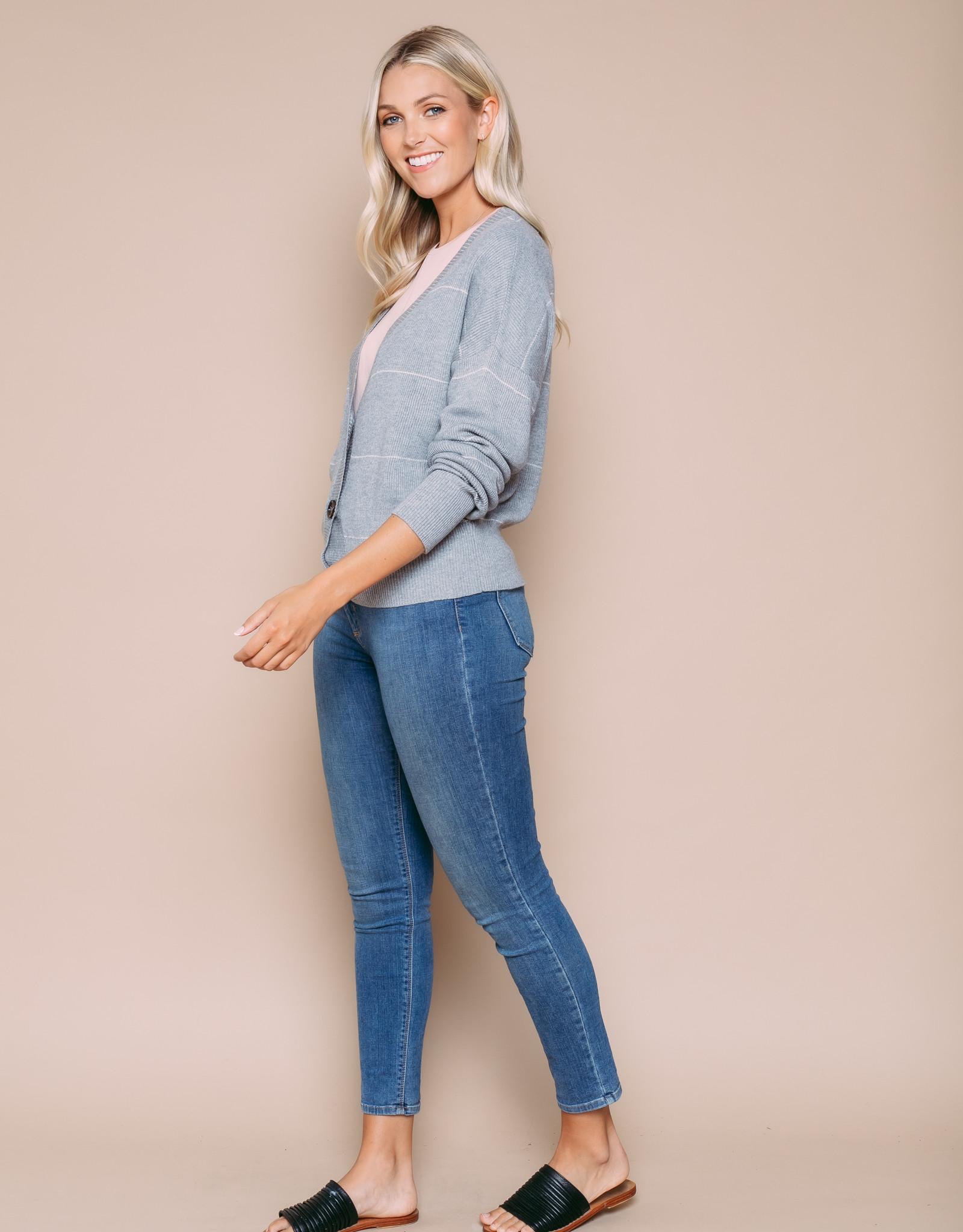Orb Clothing Kaylie Cardigan Grey Stripe