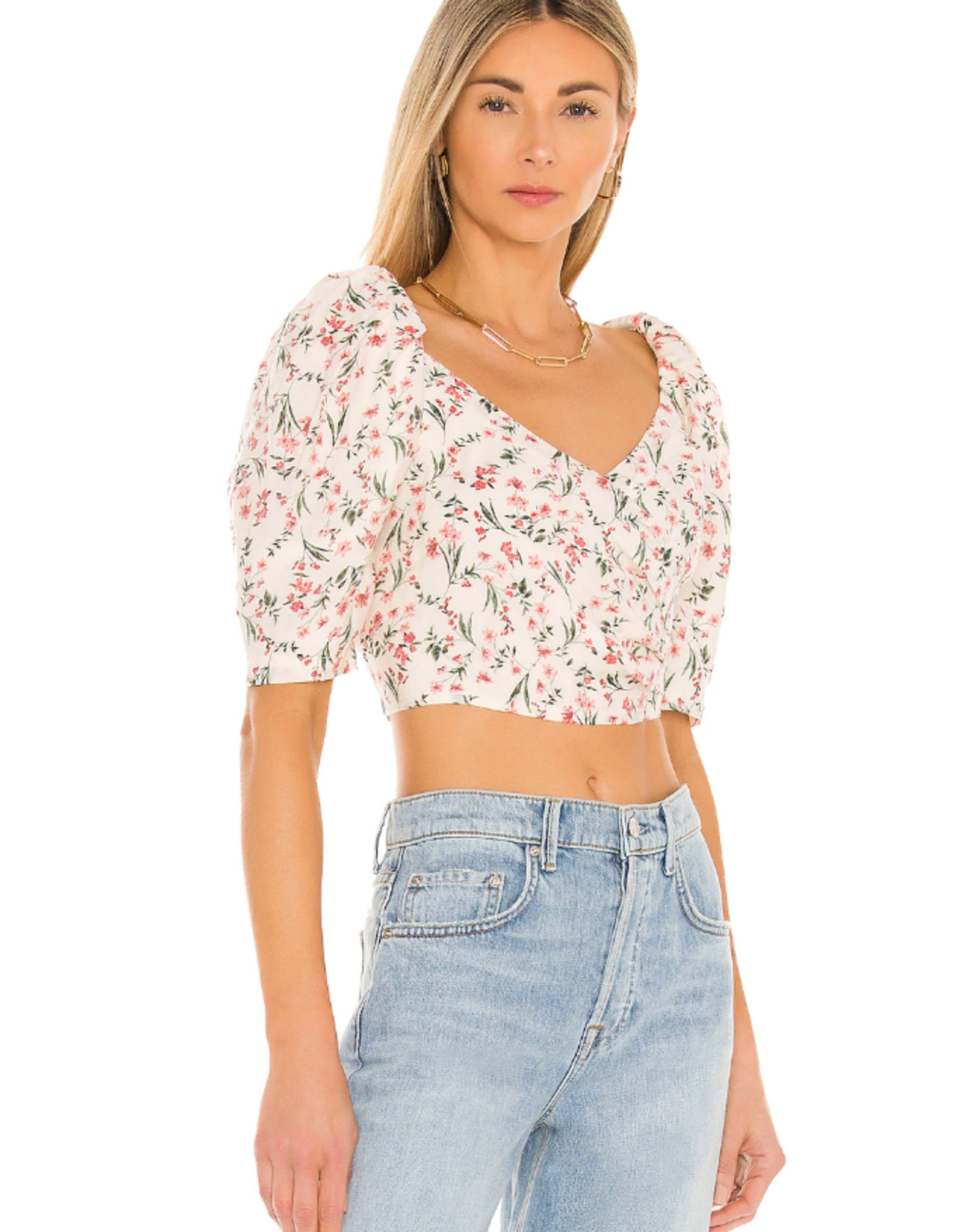 Mink Pink Kacey Ruched Crossover Top