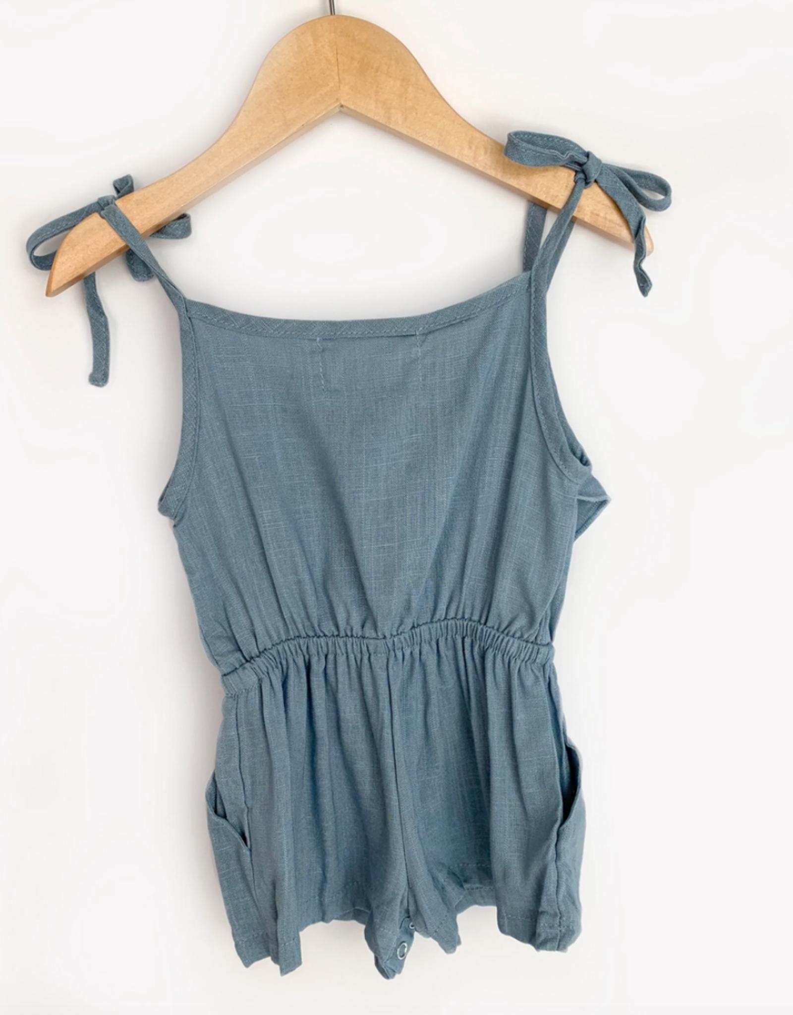 Carken Design Medium Blue Linen Tie Romper
