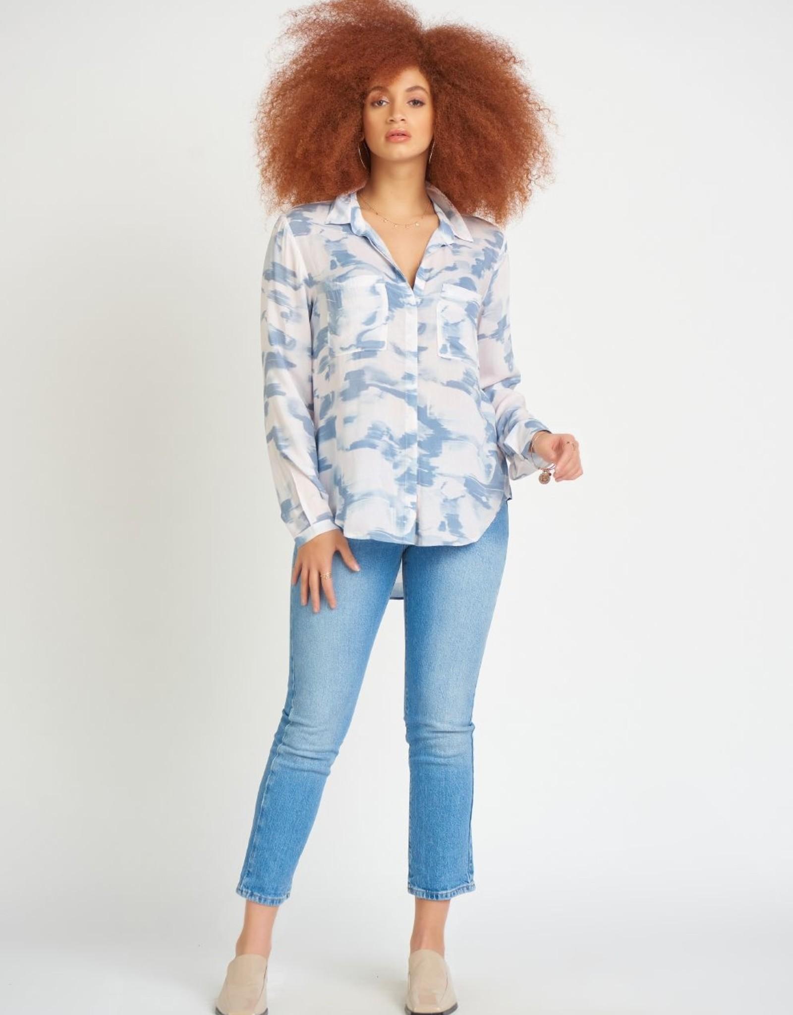 Dex Button Front Blouse Blue/White