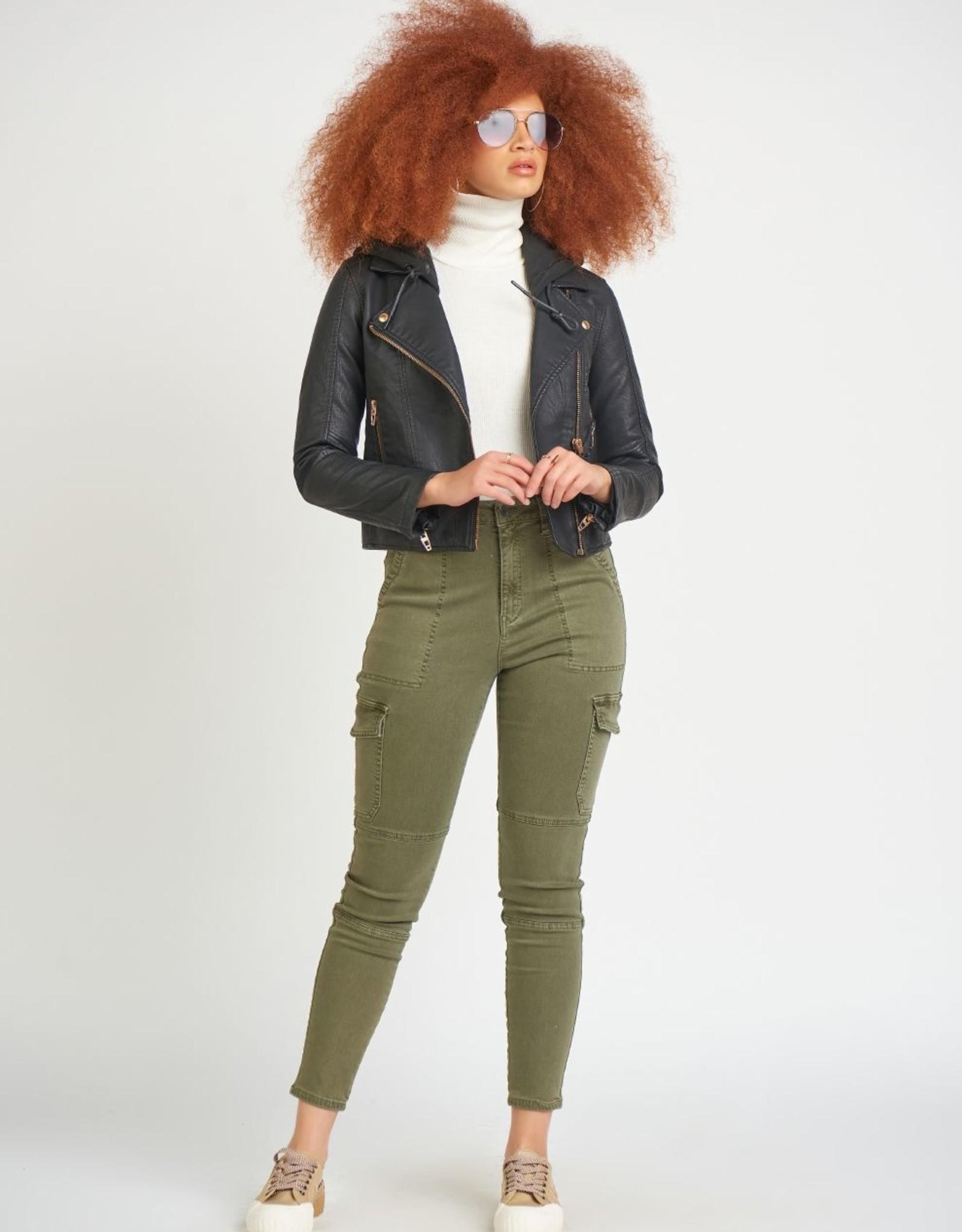 Dex F/ Leather Hoodie Jacket