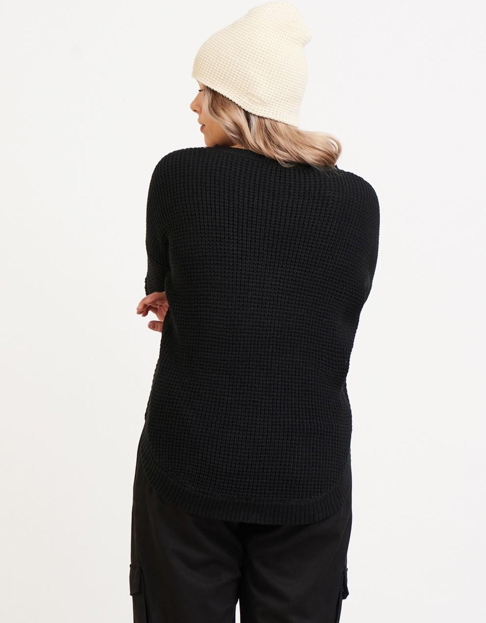 Dex Black Round Hem Sweater