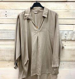 Suzy D London Button Back Shirt Taupe