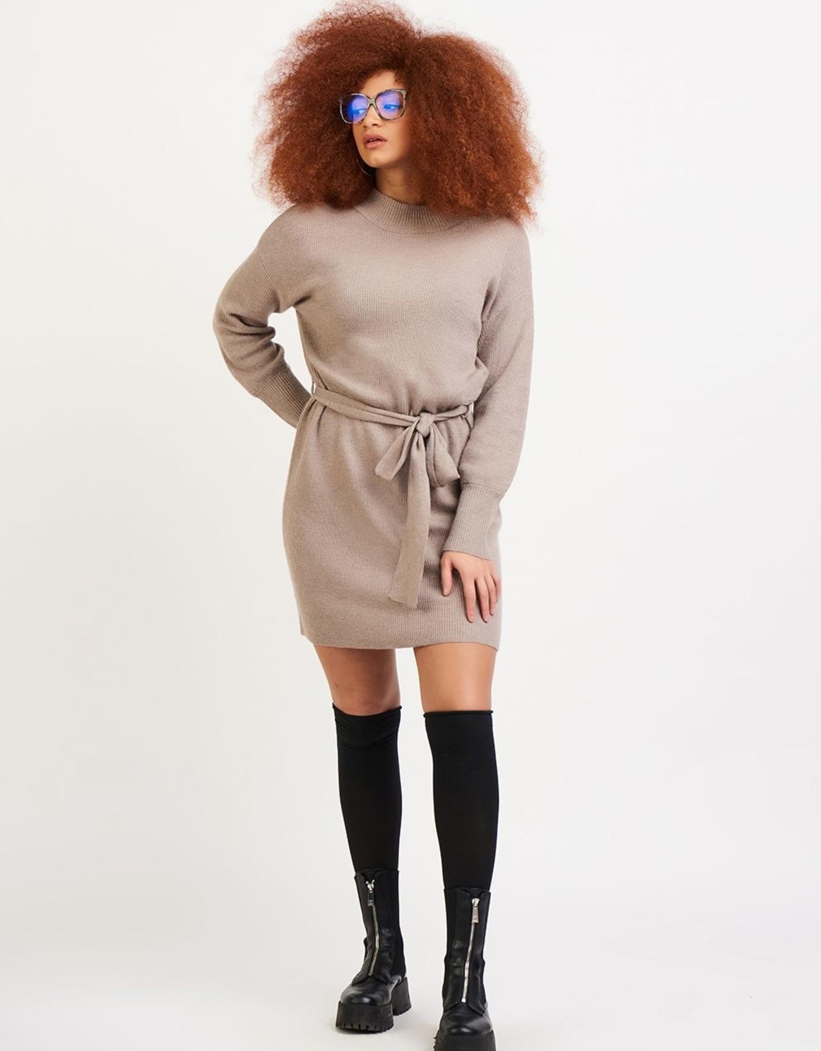 Dex Beige Belted Sweater Dress