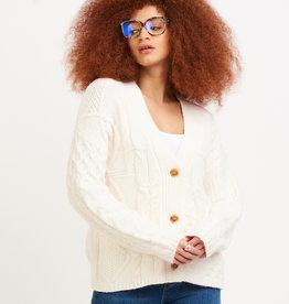 Dex Cable Knit Cardi Cream