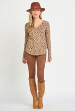 Dex Brown Leopard V-Neck Top