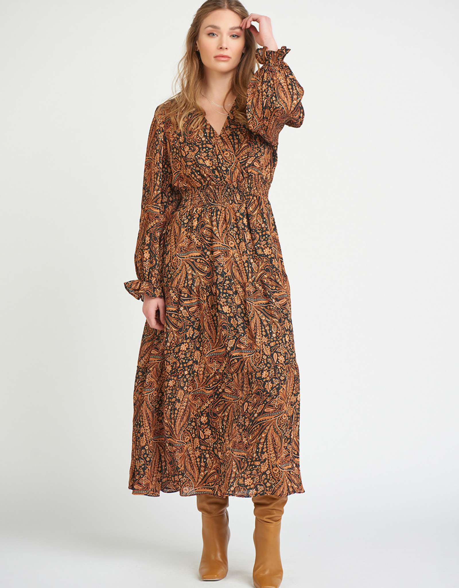 Black Tape Paisley Maxi Dress