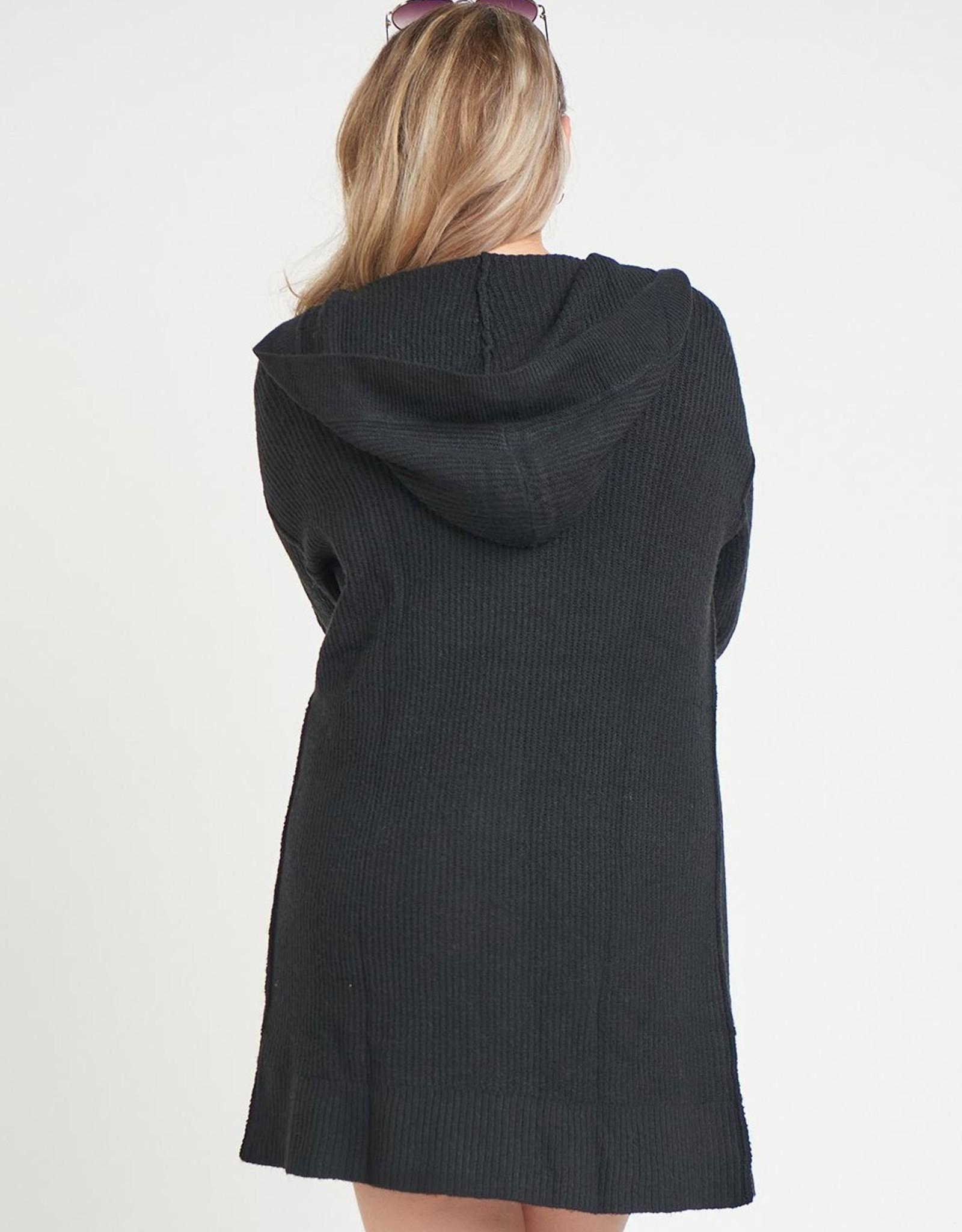 Dex Black Hooded Cardigan Plus