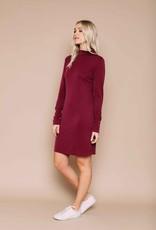 Orb Megan Funnel Neck Dress Wine