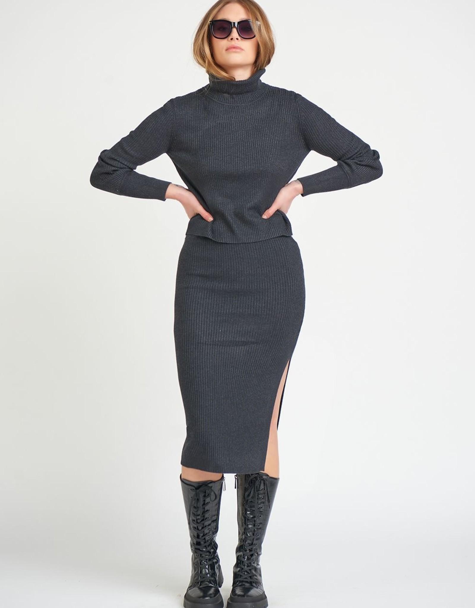 Dex Charcoal Knit Skirt