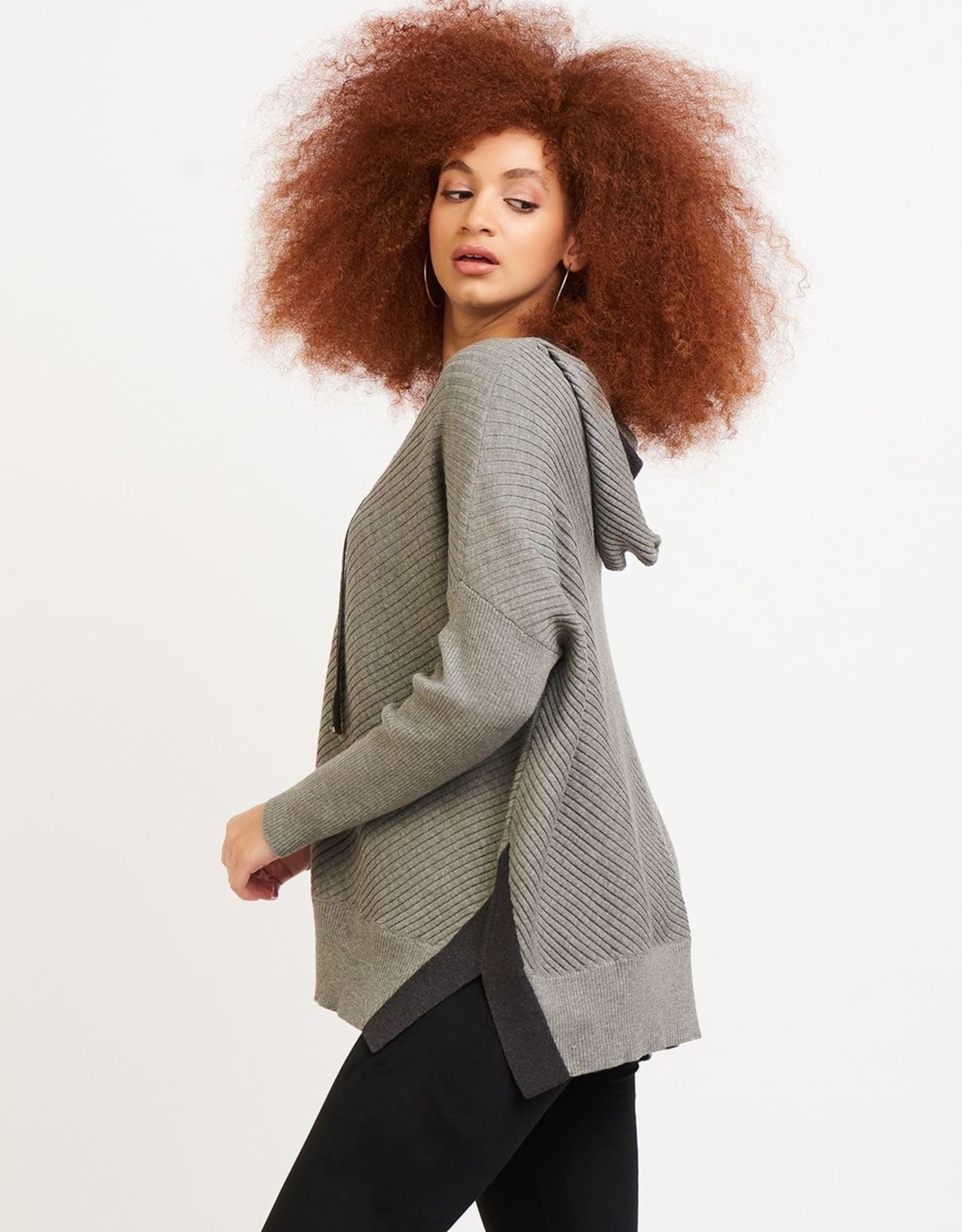Dex Contrast Charcoal Hooded Sweater