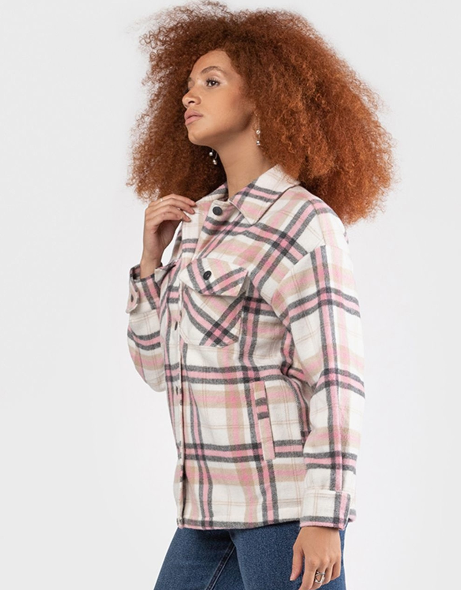 Black Tape White/Pink Plaid Overshirt