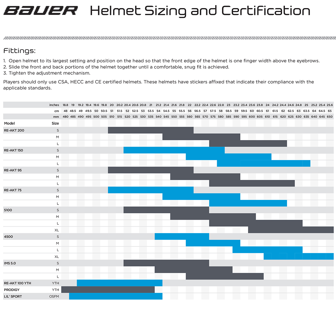 bauer helmet sizing guide
