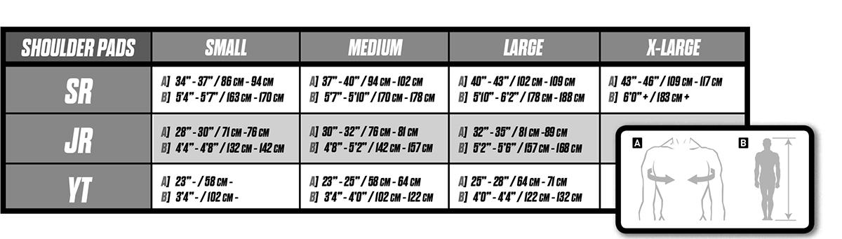 ccm shoulder pad size chart