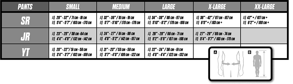 ccm hockey pant sizing