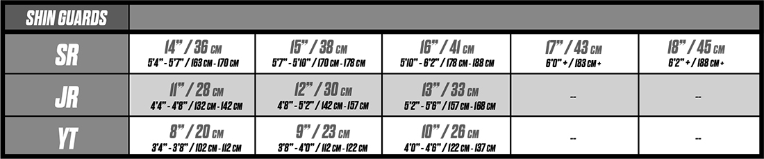 ccm shin guard sizing
