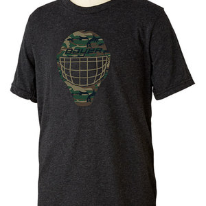 Bauer Bauer S19 Camo Face Mask Short Sleeve Tee - Youth - Black