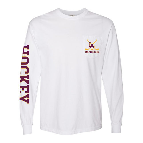 Loyola Academy Hockey Club - PRE BUY - Comfort Colors Long Sleeve Tee with Pocket - White - Adult