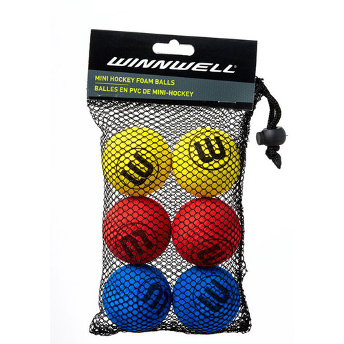 Winnwell S18 50MM 5G Shinny Knee Hockey Ball - 6-Pack - Multicolor