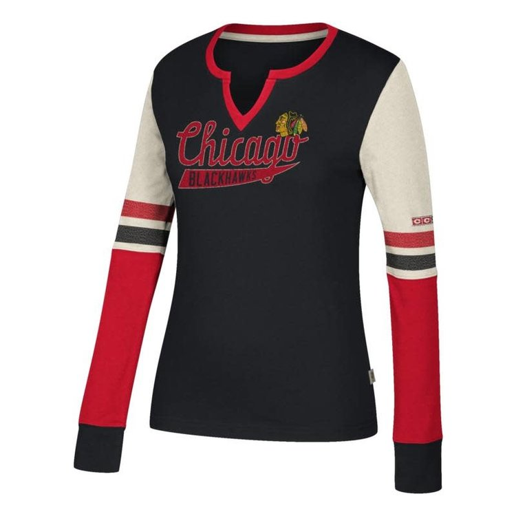 CCM Chicago Blackhawks Henley Long Sleeve Tee - Women's