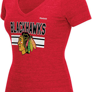 Reebok - Tri Blend Short Sleeve Chicago Blackhawks Women's Tee Shirt