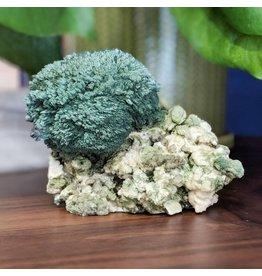 Green Celadonite, White Stilbite, Grey Chalcedony 150x115x80mm India