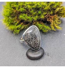 Stingray Coral Fossil Ring 8