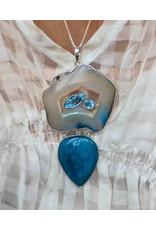 Sanchi and Filia P Designs Aquamarine, Agate, Blue Topaz Pendant