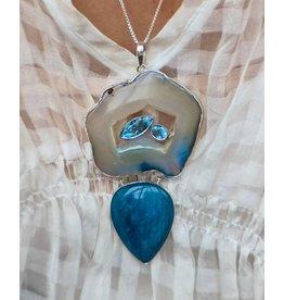 Aquamarine, Agate, Blue Topaz SS Pendant