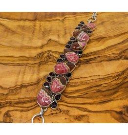 Rhodochrosite, Garnet Sterling Silver Bracelet