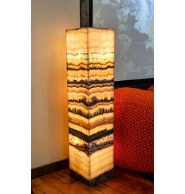 Serpentine Onyx Pedestal Lamp Pair 90x20x20cm