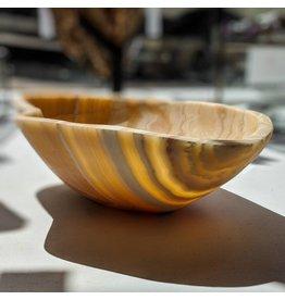 Orange Calcite Onyx Bowl 36x28x11cm 4.6kg Mexico