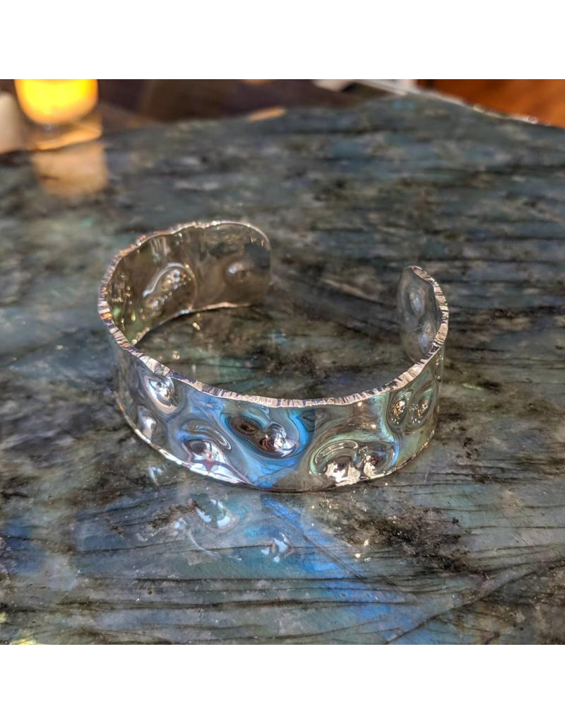 Special Concept Dimpled Silver Cuff Bracelet