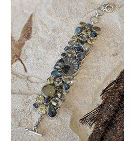 Pyritized Ammonite, Multi-Stone SS Bracelet