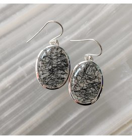Black Rutilated Quartz SS Earrings