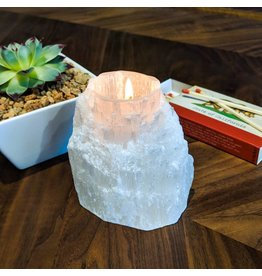 Selenite Tea Light Holder Morocco