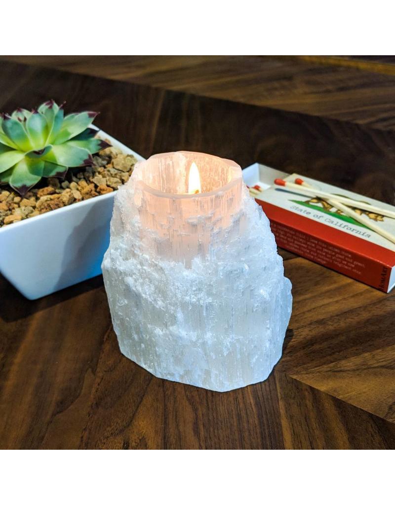 Tresor De L'Atlas Selenite Tea Light Holder Morocco