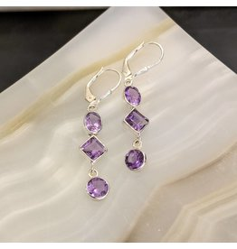 Amethyst SS Dangle Earrings