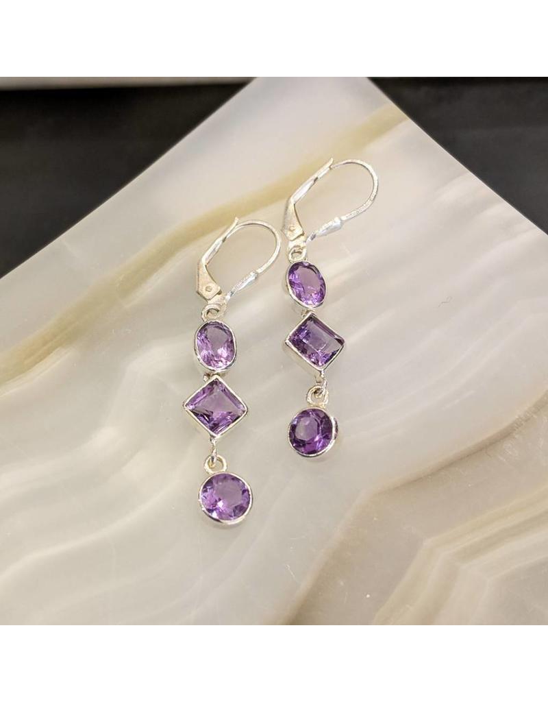 Amethyst SS Dangle Earrings